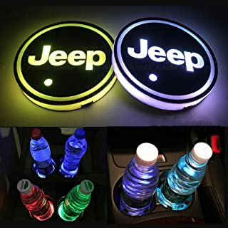 LED Car Cup Holder Lights for Jeep 7 Colors Changing USB Charging Mat Luminescent Cup Pad LED Interior Atmosphere Lamp 2pcs