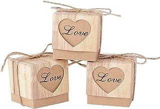 AONER (5 * 5 * 5cm) 100pcs Boîte à Dragées Bonbonières Coeur Vintage Papier Kraft avec Corde Décoration de Mariage Fête Ba...