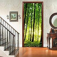 フォレスト3Dドアステッカー、アートホームデコレーション用PVC壁画デカール30.3x78.7(77x200cm)