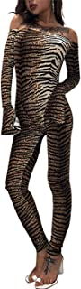 MAXIMGR Clubwear Jumpsuit Women Sexy Off Shoulder Bodycon Tiger Jumpsuit Romper Long Sleeve Striped Tunic Long Playsuit