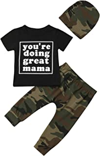 Toddler Baby Boy Letters Printed Clothes Black T-Shirt Tops+Camo Pants + Hat Outfits Set