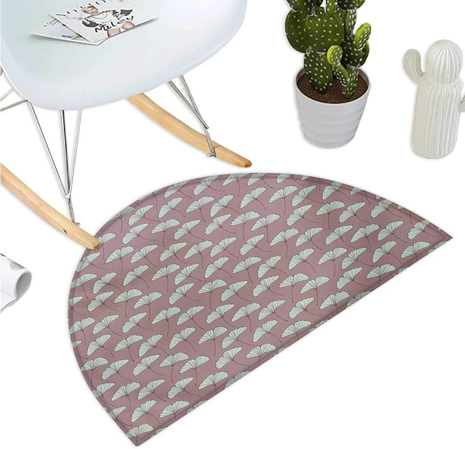 Botanical Semicircular Cushion Ginkgo Leaves Pattern with Retro Effect Garden Rural Field Flowers Entry Door Mat H 47.2  xD 70.8  Mauve Taupe and Pale Mint