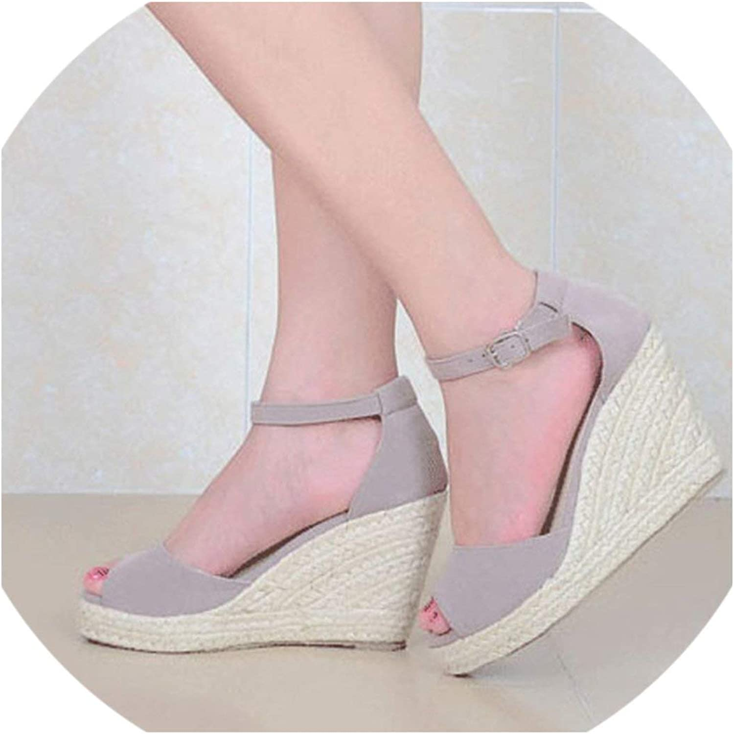 SexyStore-pumps-shoes Bohemian Women Sandals Ankle Straw for Female High Heels Sandal