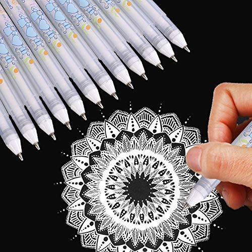 Dyvicl Stifte mit weißer Tinte, Gel-Fineliner zum Zeichnen auf schwarzem Papier, für Illustrationen, das Malen von Steinen, Malen für Erwachsene, Skizzieren für Künstler und Anfänger, 12 Stück