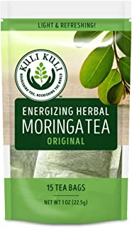 Kuli Kuli Energizing Herbal Moringa Tea Original, 15 Count, Caffeine-Free Tea with Antioxidants, No Artificial Flavors or ...