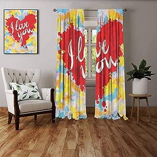 FOEYESEE Shading Insulated Curtain I Love You Brushstroke Style Valentines Celebration Message My Other Half Celebration Image Multicolor Boys Girls Bedroom Dorm W72 xL63