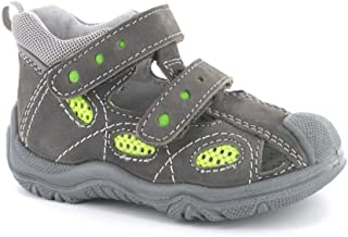 Boys Leather Shoes T-Strap Closed Sandals Grey Olive 41388/76G (Toddler/Little Kid)
