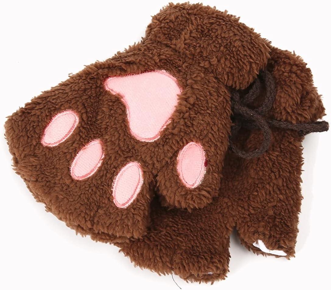 JSJJAWS Winter Gloves Gloves Lovely Women Warm Winter Mitten Plush Glove Costume Half Finger Soft Gloves for Girls (Color : Coffee)
