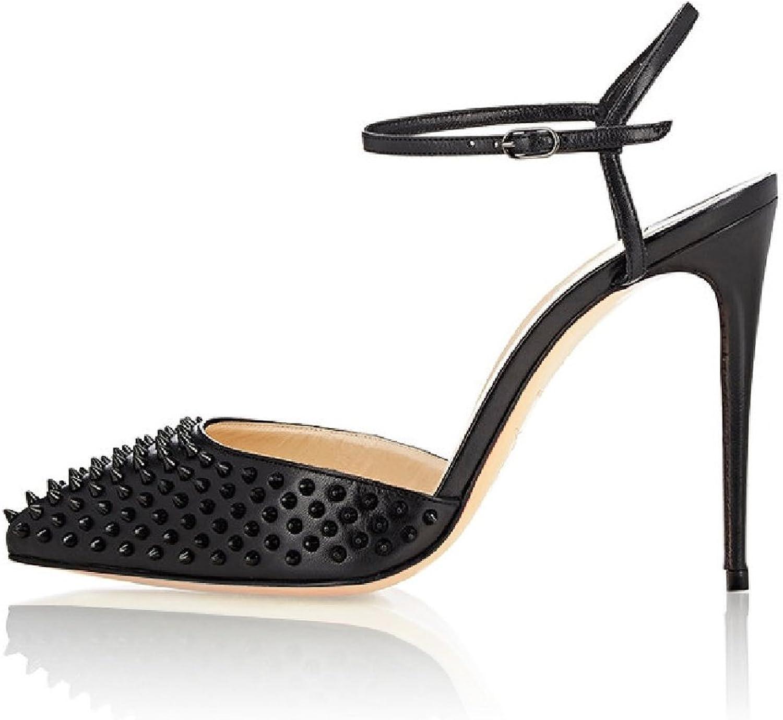 Eldof Women's High Heel Sandals Pointed Toe Slingback Stilettos 10cm Rivet Studded Party shoes