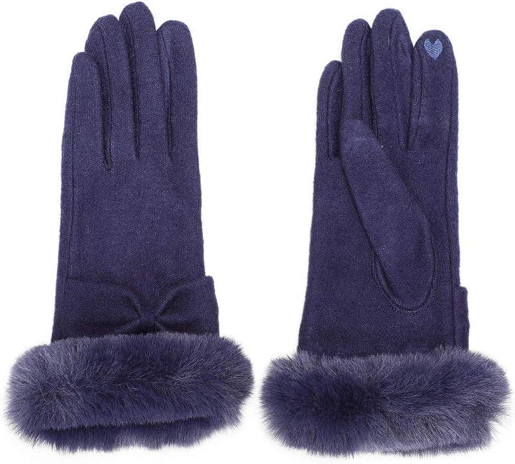 GlovesDEPO Women's Touch Screen Jersey Knit Gloves Fluffy Faux Fur Cuff Winter Warm Fall Mittens