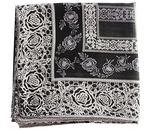 Deresina Headwear Deresina Headwear Frauenalltags Weiche Quadratisch Kopftücher (1mx1m) (Black/Grey Chain Print)
