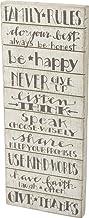"Primitives by Kathy 35231 White Slat Box Sign, 12"" x 30"", Family Rules"