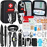 Emergency Survival Kit 176pcs Gifts for Men Dad Husband Survival Gear Tool Kit Survival Tool Emergency Blanket Tactical Pen Pliers for Wilderness Camping Hiking First Aid for Earthquake