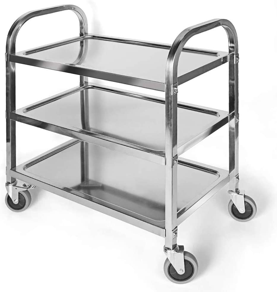 Buy 3 Tier Stainless Steel Utility Cart With Wheels Kitchen Trolley Cart Island Rolling Serving Carts 300lbs Capacity Catering Storage Shelf With Locking Wheels For Restaurant Hotels Home 30x16x33inch Online In Turkey B07kr2m14f