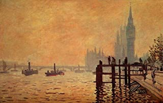 $50-$2000 Hand Painted by College Teachers - 37 Monet Paintings - The Thames Below Westminster Claude Monet Cityscape FCM5 - Art Oil Painting on Canvas -Size05