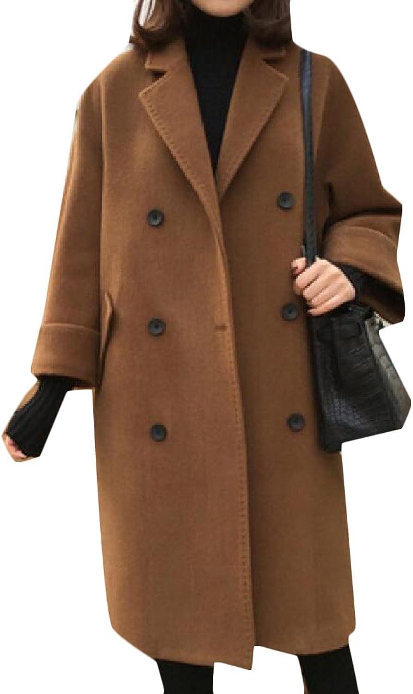 Comfy Womens Midlong Autumn Winter Plus Size Wrap Solid Woolen Jacket