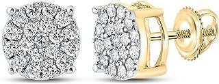 FB جواهر الذهب الأصفر 10kt رجل جولة الماس العنقودية أقراط 3/8 Cttw