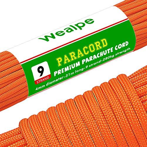 Wealpe パラコード 9芯 パラシュートコード 4mm テント ロープ 31m ガイロープ 耐荷重 280kg アウトドア キ...