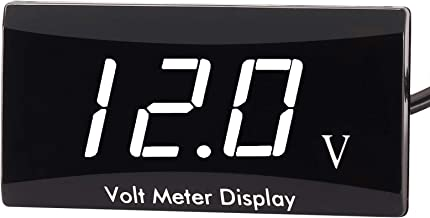 [Upgraded Version] Kinstecks Motorcycle Voltmeter DC 12V Digital Voltmeter Gauge LED Display Voltage Meter for Motorcycle Car Battery Voltage Monitor-White