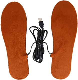 Heated Insoles, Unisex Foot Warmers Insoles Keep Feet Warm Shoe Pads (Color : Brown for Men)