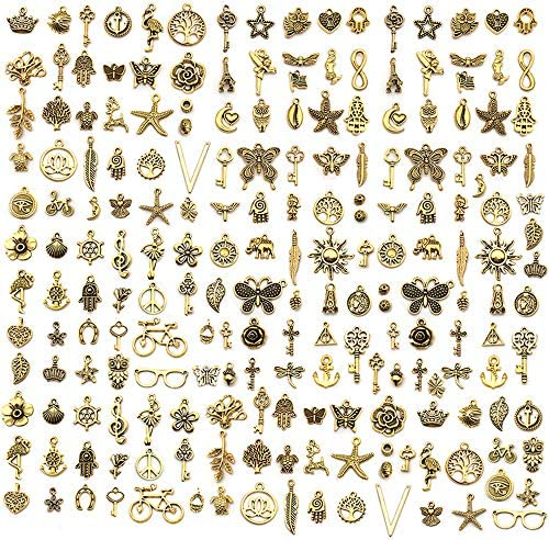 AleapDoll 200pcs Wholesale Bulk Charms for Jewelry Making Supplies Bracelet Charms Necklace product image