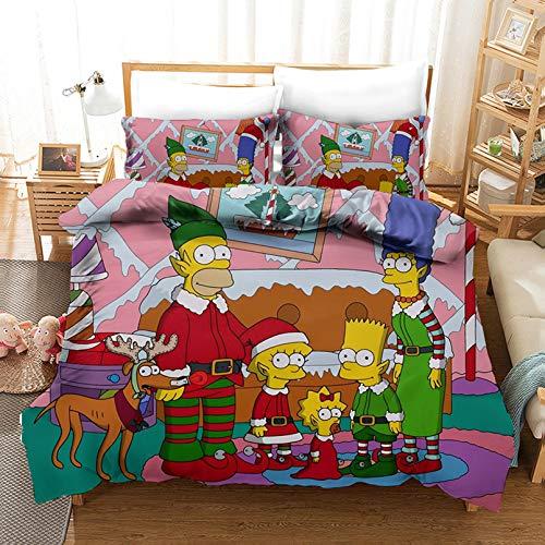 Bate - Juego de ropa de cama para adultos de The Simpsons Boys Girls, diseño 3D impreso, 100% microfibra (220 x 240 cm)