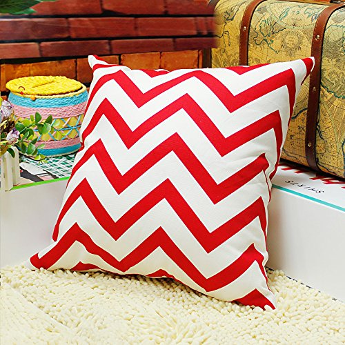 TAOSON Chevron Zig Zag Cotton Canvas Pillow Sofa Throw White Printed Cushion Cover Pillow Case with Hidden Zipper Closure Only Cover No Insert 18x18 Inch 45x45cm-Red
