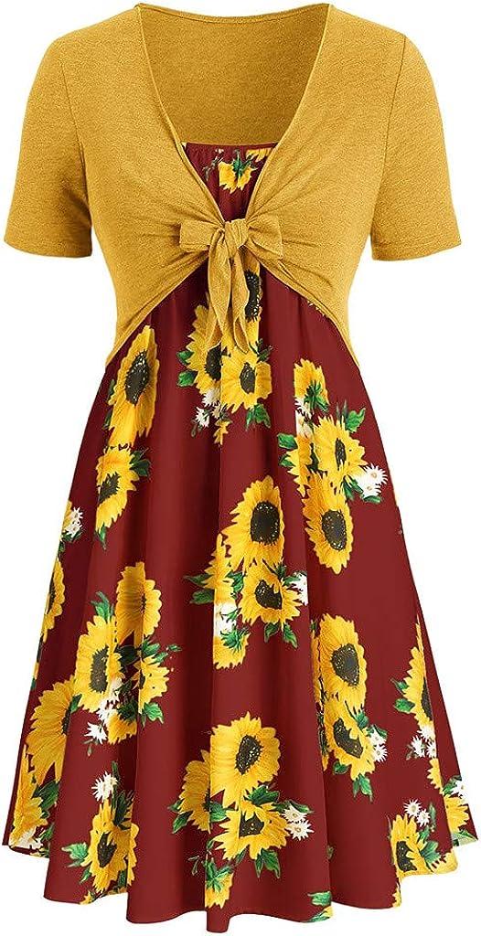 HHmei Fashion Women Short Sleeve Bow Knot Bandage Top Sunflower Print Mini Dress Suits