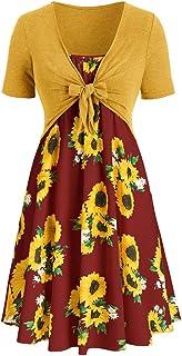 Anxinke Toddler Girls Sleeveless Sunflower Print Halter Neck Lace-up Summer Dresses