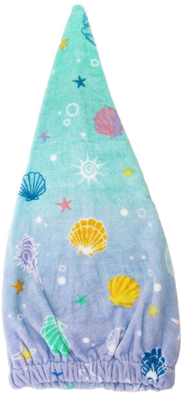 赤字川狂人林(Hayashi) ヘアドライタオル ブルー 約23×57cm タオルキャップ シークレットシェル ZI460900