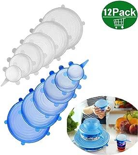 ZoneYan Tapas Silicona,12 Paquetes de Varios TamañOs de Fundas para Tazones de Silicona, Reutilizable Fundas Protectoras para Alimentos Tapa Tazas, Boles o Tarros,Sin BPA, Lavavajillas