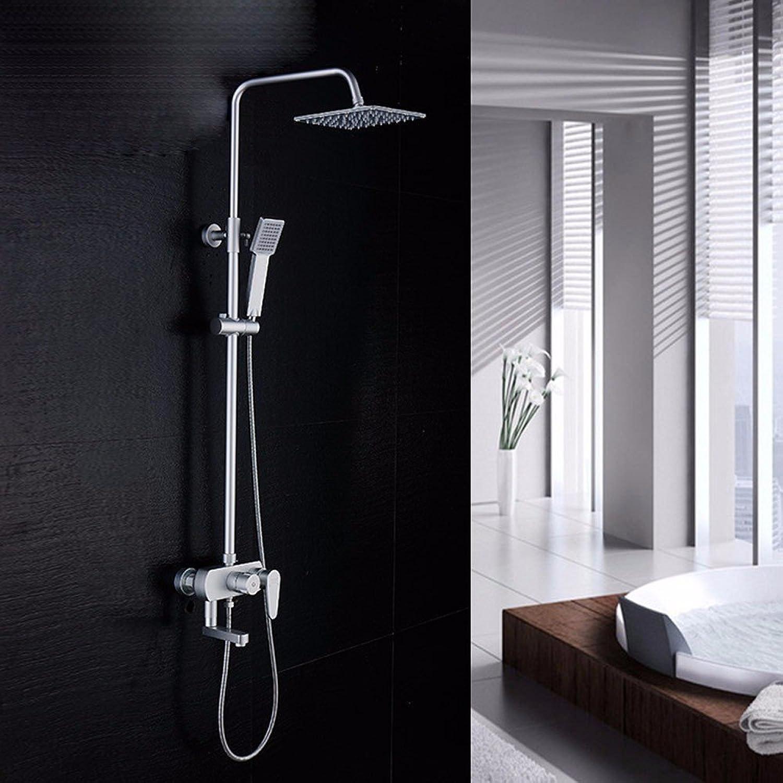 QMPZG-Badezimmer-Set, Thermostatfunktion, Turbo Dusche, Brauseset, Aluminium-Raum