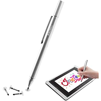 INSTEN Disc Tip Stylus Pen w/ 3 Replaceable Silicone Tips, Super Sensitive & Precision Design, Ultra Smooth w/Flexible Writing Angles Compatible with iPad Tablet Kindle & Touch Screen Devices, Silver