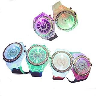 CdyBox Silicone Bling Women Men Watch LED Luminous Colorful Lights Sport Watches Girls Boys (6 Pack)