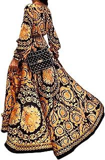 TONMOON Womens Summer Boho Floral Long Sleeve Long Maxi Dress Robes Party Beach Sundress Evening Dresses New Vestidos