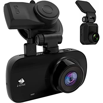 """Dual Dash Cam, Z-Edge Z3D 2.7"""" Screen Dual 1920 x 1080P Dash Cam Front and Rear (2560x1440P Single Front) with GPS, Support 256GB max, WDR, Super Night Vision, Parking Mode, G-Sensor"""