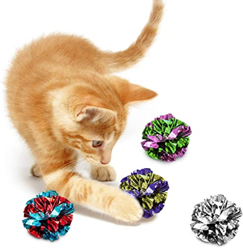 SunGrow Mylar Crinkle Balls for Cats, 1.5 - 2 Inches, Shiny and Stress Buster Toy, Lightweight and Suitable for Multi...