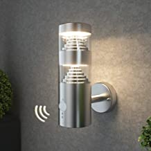 NBHANYUAN Lighting® LED Outdoor Wall Light with PIR Sensor Sainless Steel Outside Wall Lamp for Garden, Bathroom Wall Fixture 3000K White Mains Powered 240V 9.5W IP44 1000LM (LED Bulbs Included)