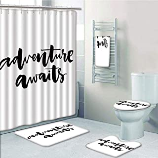 Bathroom 5 Piece Set Shower Curtain 3D Print Customized,Adventure,Inspirational Quote About Life and Travel Adventure Never Stops Journey Theme Decorative,Black Wihte,Graph Customization D