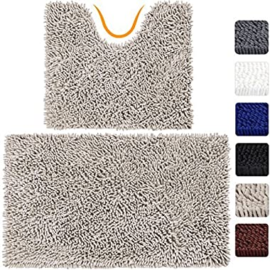 VDOMUS Microfiber Bathroom Contour Rugs Combo, Set of 2 Soft Shaggy Machine Washable Bath Shower Mat and U-shaped Toilet Floor Rug (Beige)