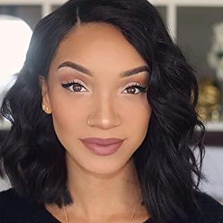 150% Pre Plucked Lace Frontal Wigs With Brazilian Virgin Human Hair Wavy Bob Style Wigs For Black Women (10