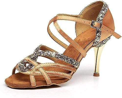 Yingsssq Chaussures de Danse Danse Femmes pour Salsa en Satin Tango Chacha Samba Modernes Jazz Sandales à Talons Hauts  vente pas cher