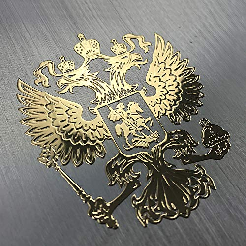 Russland Adler Russischer Wappen Aufkleber 3D in Gold KLEIN Sticker Small российский герб