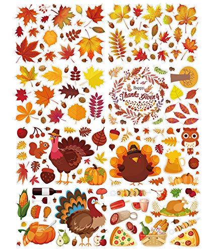 WayOuter Ahornblätter Fenster Aufkleber 160 Stücke Thanksgiving Dekorationen Herbstblätter Fensterbilder für Thanksgiving Herbst Party Zubehör, 8 Blatt