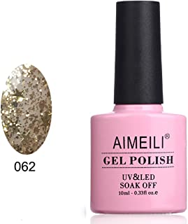 AIMEILI Soak Off UV LED Clear Glitter Gel Nail Polish - Golden Superstar Glitter (062) 10ml