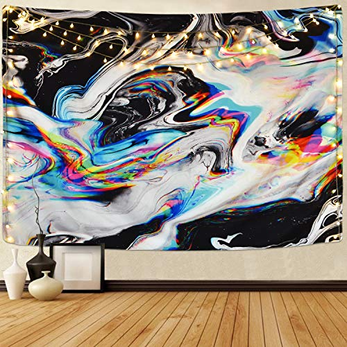 Alishomtll Colorful Gouache Tapestry Psychedelic Art Tapestry Marble Swirl Tapestries Natural Landscape Trippy Tapestry for Room (Multi, 51.2 x 59.1 inches)