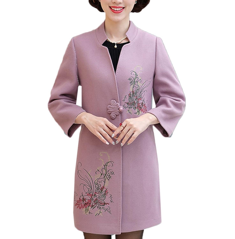 [美しいです] レディース コート 刺繍 トレンチコート ハーフ丈 ラシャ レジャー 春 秋 冬 通勤 ゆったり 厚手