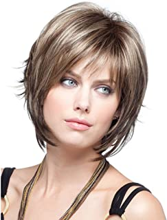 Royalfirst Women's Short Blonde Layered Wigs With Side Bangs Natural Human Hair Wigs With Wig Cap