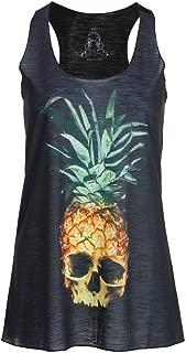 Womens Halloween Pineapple Skull Loose Fit Muscle Tee Tank Top