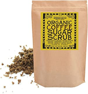 Svasthya Organic Coffee Sugar Scrub for Face & Body 100% All Natural Deep Cleansing & Exfoliating for Tone, Radiant Skin, 20 oz